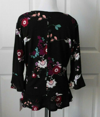 CANDIE/'S Women/'s Black Pink Rose Print Crepe Ruched Front Peplum Bell Top Size S