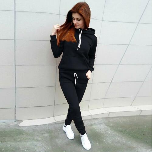 Damen Trainingsanzug Kapuze Hooded Pullover Hose Fitness Jogginganzug Sportanzug