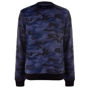Firetrap-Camo-Sudadera-Sueter-de-cuello-redondo-para-hombre-Caballeros-Camiseta-Camiseta-Top-Puente