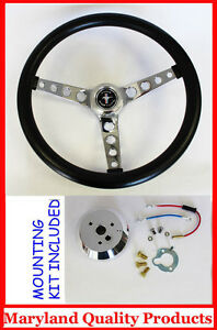 1965-1969-Ford-Mustang-GT-Retro-Steering-Wheel-Black-14-1-2-034-Hi-Rise-Mustang-cap