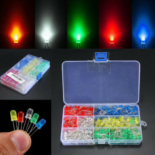 500Pcs 3mm//5mm  Bright LED Lights Assortment Emitting Diodes Component Kit