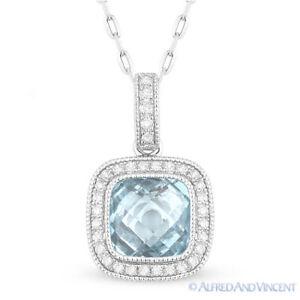 1-74ct-Checkerboard-Blue-Topaz-Diamond-Halo-Pave-14k-White-Gold-Necklace-Pendant
