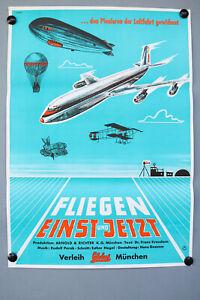 Kino-Film-Plakat-Fliegen-Einst-und-Jetzt-1956-Poster-DIN-A1-Top-Zustand
