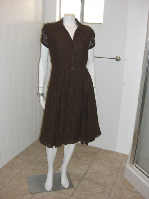 Apt 9 Dark Brown Lace Button Down Lined Dress Size 12 NWT