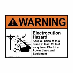 Vinyl 4-Pack Made in the USA 5x3.5 in ANSI WARNING Crane Label with Symbol