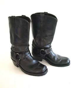 51b9696f5b6 Details about Vintage Black Leather Tall Motorcycle Biker Harness Boots  mens 8.5 womens 9 10