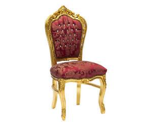 Poltrona-Sedia-FOGLIA-oro-tessuto-DAMASCATO-stile-barocco-GOLD-CHAIR