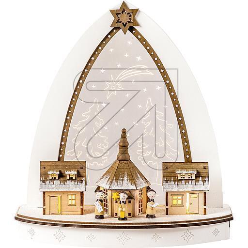 Weihnachten Advent Dekoration LED  Holzleuchter Seiffener Kirche