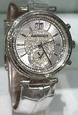NWT MICHAEL KORS Silver Sawyer Crystal Glitz Silver Leather Watch MK2443 $325