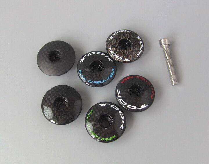 Wholesale 6colors 12pcs Carbon stem headset MTB road bike Top  cap Cover  low-key luxury connotation