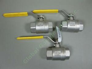 3-NEW-SCI-1-034-IPS-Stainless-Steel-SS-304-Lead-Free-Ball-Valves-Lot-600-PSI-WOG-NR