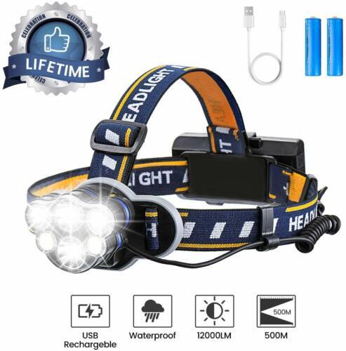 8 modos Linterna De Recargable Brillante LED Lámpara De Cabeza Impermeable