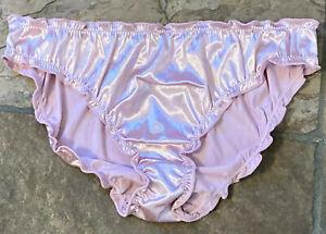 Carnation Pink 7/L Buttery Soft Silky Second Skin SATIN Bikini Panties NWOT