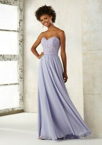 NWT Size 10 Violet chiffon and embroidered & beaded net Mori Lee 21501