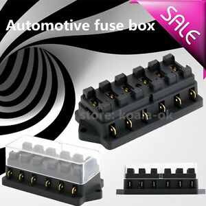 6 Way Circuit Automotive Middle-sized Blade Standard Fuse Box Block Holder OY