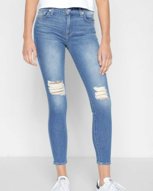cheap for discount multiple colors official shop 7 For All Mankind THE ANKLE GWENEVERE SKINNY DESTROYED JEANS BREEZY VISBY  29 NEW