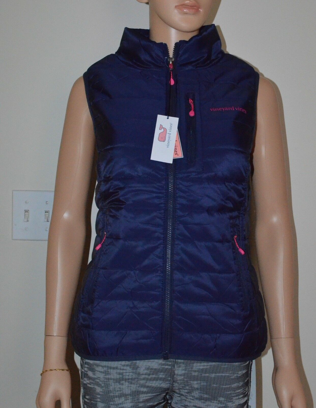 New Vineyard Vines Women's Mountain Weekend Vest Nautical Navy  Size XS M