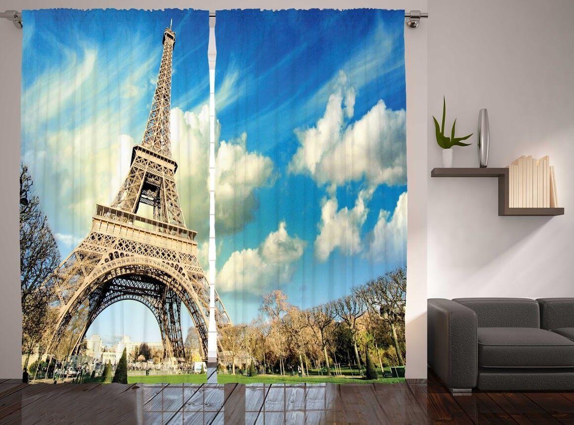 Set De 2 Torre Eiffel ventana gráfica paneles Paris Jardín clody Sky Ventana Cortinas