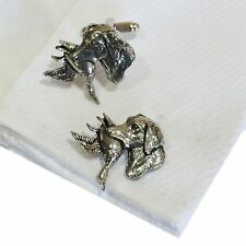 English Pewter Spaniels with Pheasant, Dog Cufflinks. Xmas Gift NEW (ref A26)
