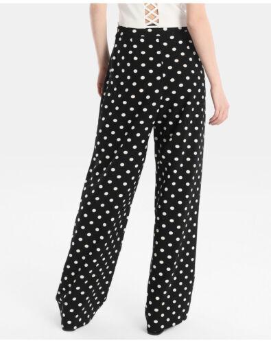 Womens Ladies Polka Dot Italian Trouser Full Length Tie Waist Straight Pant New