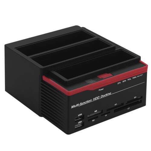 "External Triple 2.5/""//3.5/"" SATA IDE HDD Hard Drive Docking Station Card Reader SS"
