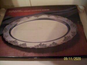 Godinger Plaqué Argent Serving Tray, ovale avec vigne bordure mariage, Neuf dans sa boîte