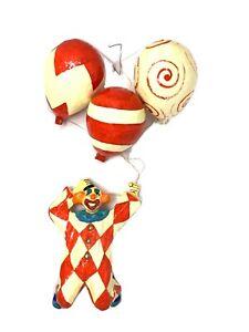 Vintage-Paper-Mache-Clown-Balloons-Hanging-Mexico-Vibrant-31-034-Long