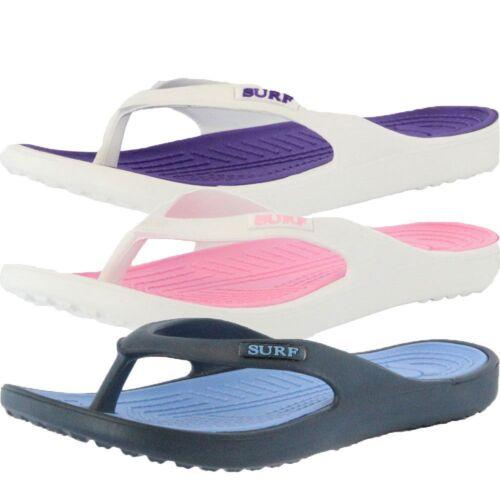 Womens Surf Flip Flops Sandal Beach Shower Pool Toe Post Rubber Slip On Two Tone