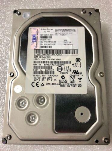 45W7766 99Y1169 3TB 7200RPM 6Gb/'s SAS XIV G3 HD no tray  HUS723030ALS640
