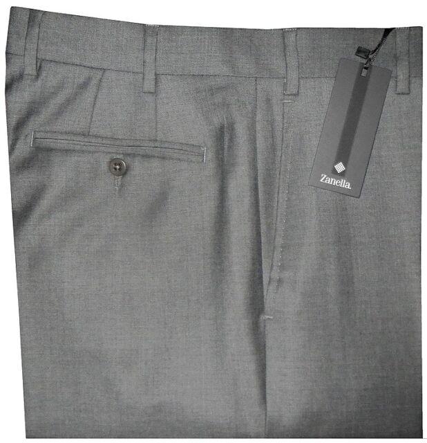 $395 NWT ZANELLA TODD SOLID GRAY SUPER 120'S WOOL MENS DRESS PANTS 34