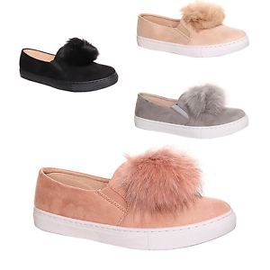 Womens Girls Pom Suede Style Loafers Plimsolls Flat Trainers Pumps Quality Shoes