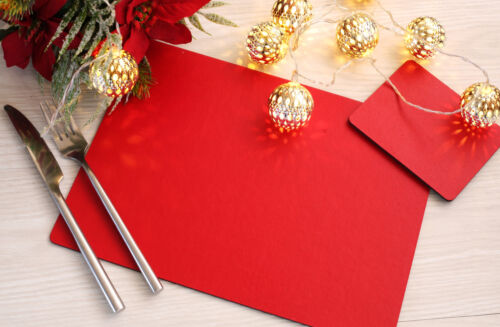 Lot de 6 Elementary rouge carton-cuir Sets de table et 6 sous-verres-Made in UK