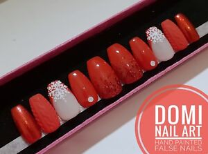 Christmas Stiletto Nails.Details About Hand Painted False Nails Christmas Red Snowflake Sweater Glitter Coffin Stiletto