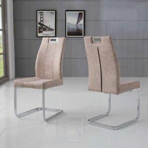Immagini Sedie Moderne.Dettagli Su Set 2 Sedie Moderne In Microfibra Ed Acciaio Altea