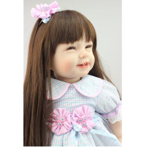 "22/"" Handmade Lifelike Reborn Long Hair Girls Doll Silicone Vinyl Baby With Dress"