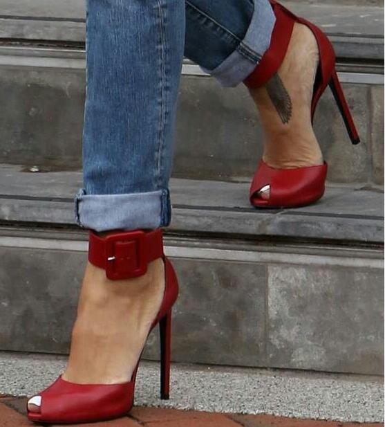 femmes Buckle Peep Toe Sexy Stilettos Ankle Strap 2018 High Heel chaussures Sz35-47