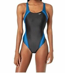 190-Speedo-Women-039-s-Black-Blue-Quantum-Splice-Racerback-One-Piece-Swimsuit-Sz-10
