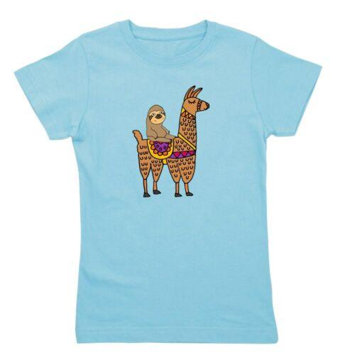 CafePress Cute Sloth Riding Llama T Shirt Slim Fit TShirt 175691132