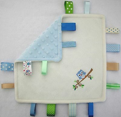 Personalised Taggy Blanket / Comforter / Cute Owl - Newborn, Christening Gift