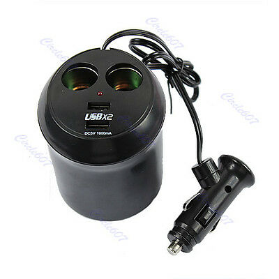 Car auto Cigarette Lighter Dual USB Charger Socket Cup Holder Adapter 12V Black