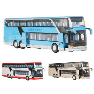 XMAS-1-32-Simulated-Alloy-Double-Decker-Bus-Pull-Back-Model-Toy-w-Sound-Light