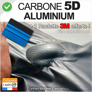 carbone 5d aluminium 152cm x 50cm film vinyle covering wrap glossy raclette 3m ebay. Black Bedroom Furniture Sets. Home Design Ideas