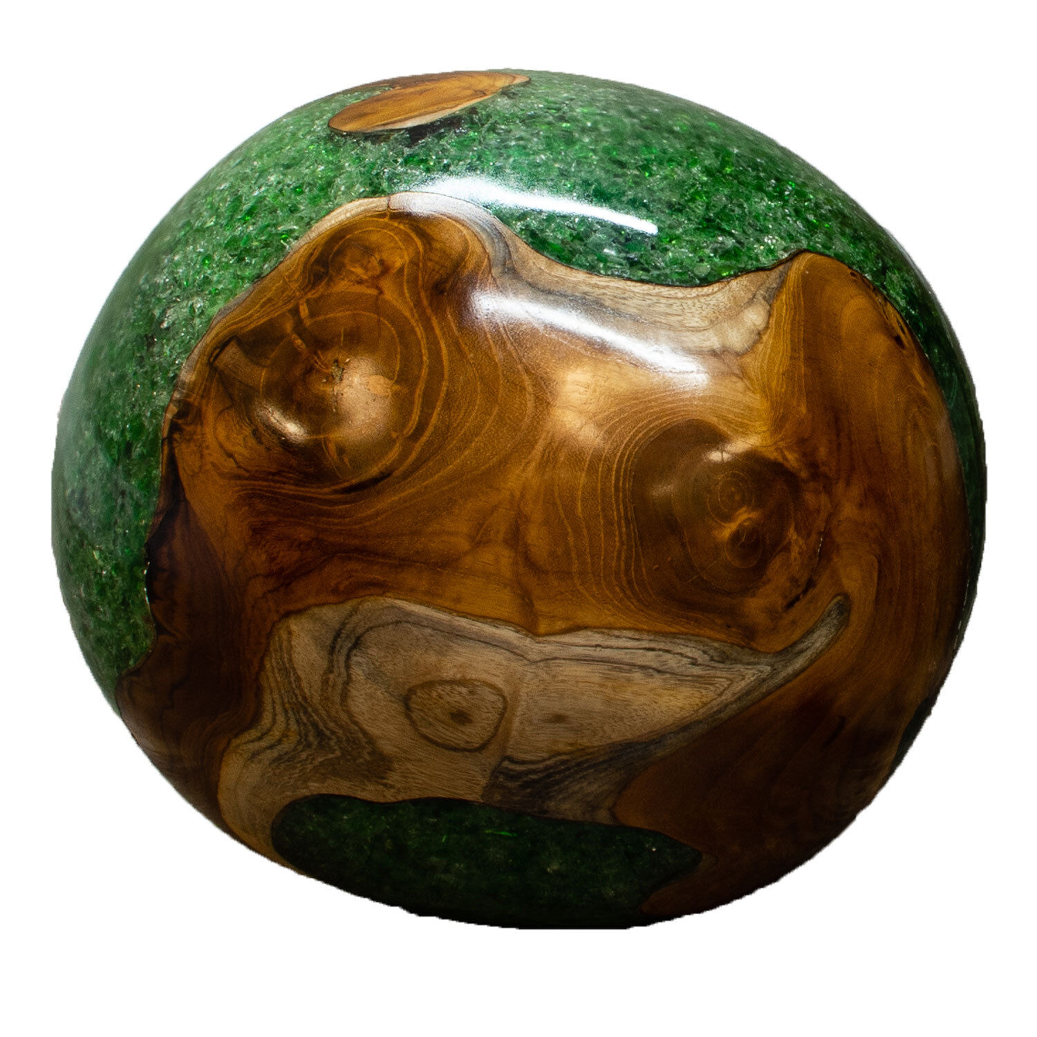 Teak Wood and Grün Resin Lucite 11 Inch Ball Wood Wood Wood Rare Accent BLR23G-06 e993fb