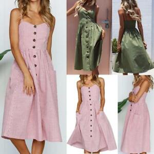 44948fa0936 Image is loading UK-Ladies-Womens-Midi-Sundress-Strappy-Button-Pocket-