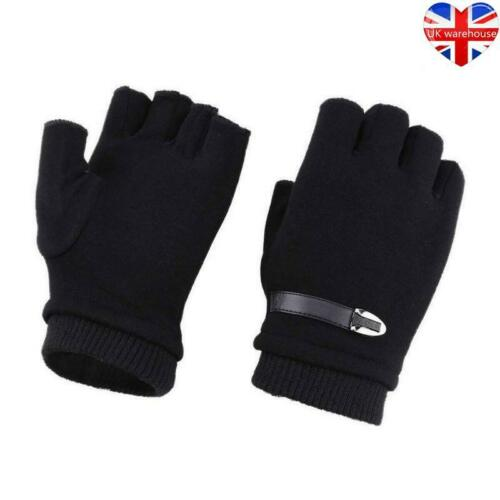 Adults Mens Thermal Fingerless Thick Knitted Winter Warm Half Finger Work Gloves
