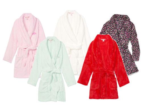 Victoria/'s Secret cozy plush Fleece Robe super soft luxury white red mint pink