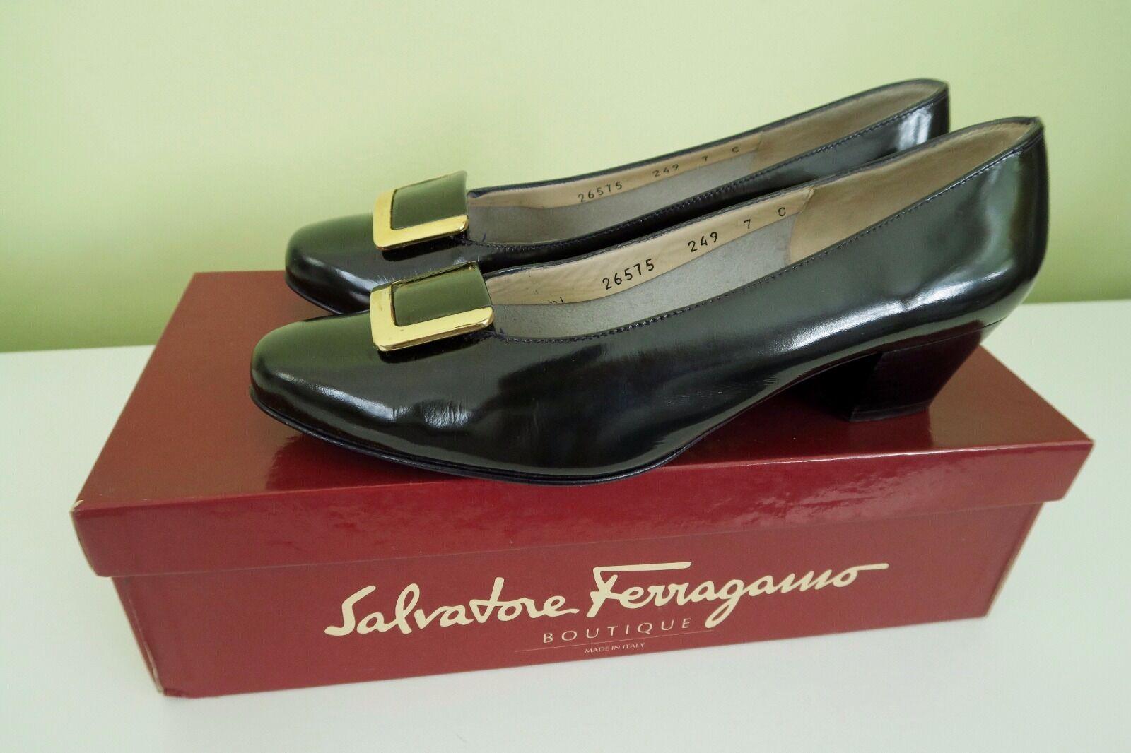 Salvatore Ferragamo Black Patent Leather gold Buckle Classic Pumps Low Heels 7