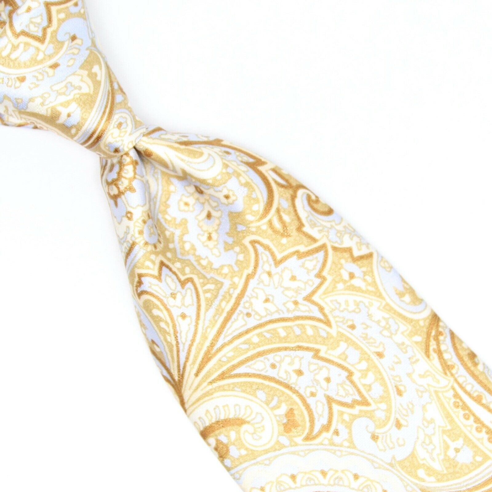 Canali Herren Seide Krawatte Hellblau Gold Paisley Glatt Aufdruck Im Italien