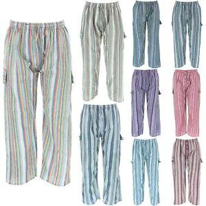 Pantalones Pantalones De Combate De Carga A Rayas Hippie Lounge India Elastico Holgado Ebay