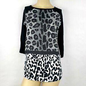 ef6d1ebd1d33 ZARA animal print knit long sleeve crewneck Black sweater top Womens ...